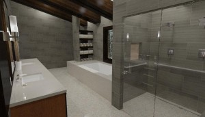 Walnut Beam Master Bathroom 3D rendering b
